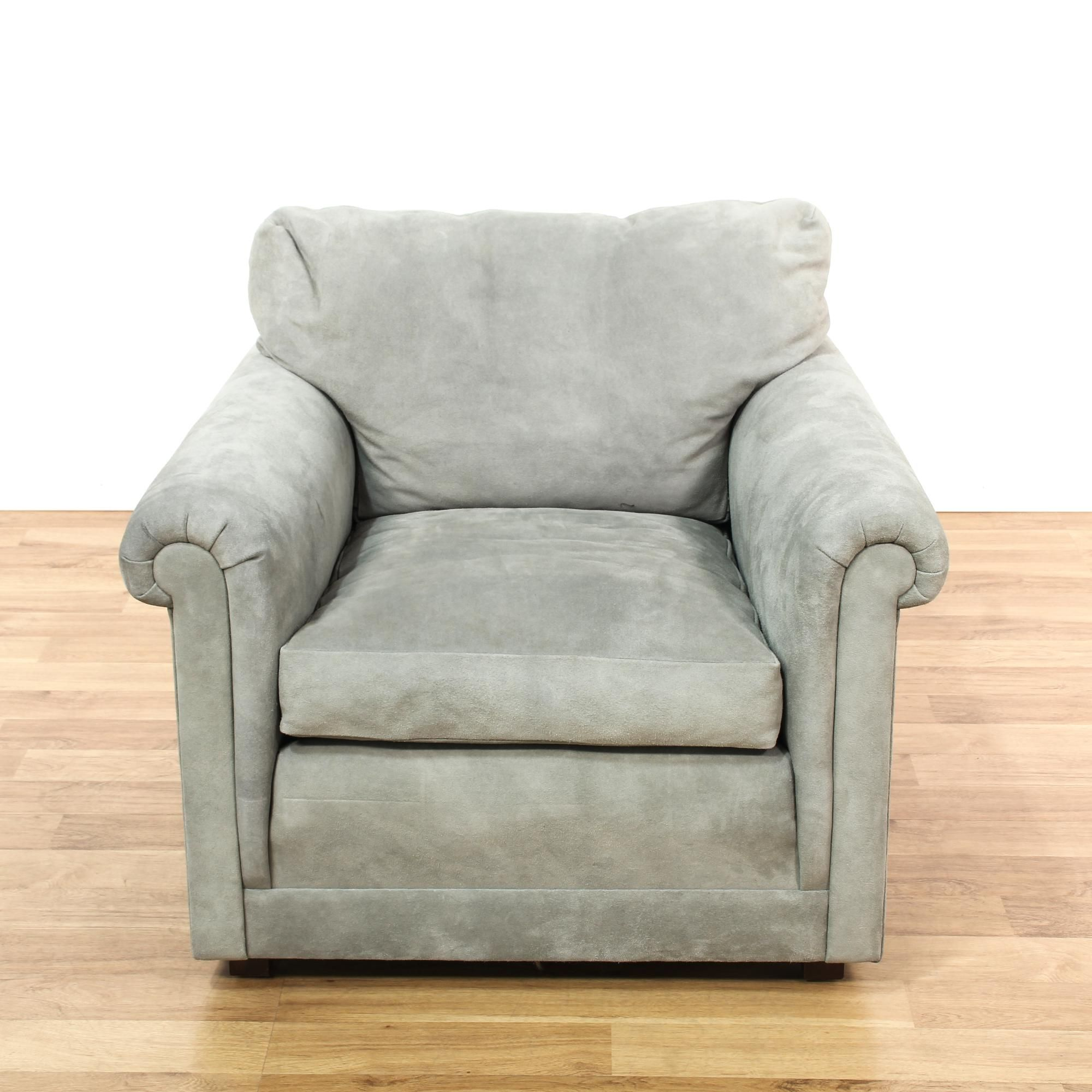 Light Blue Grey Suede Armchair