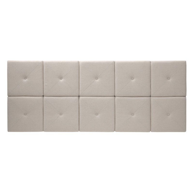 Tessa Natural Linen Headboard Tiles with X Seam and Tuft