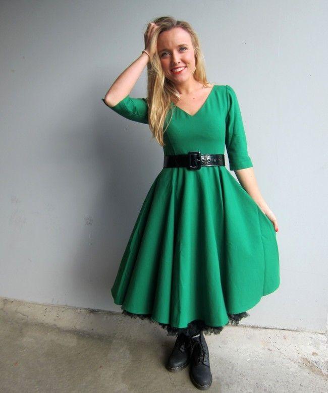 Swingklänning Hepburn Vintergrön