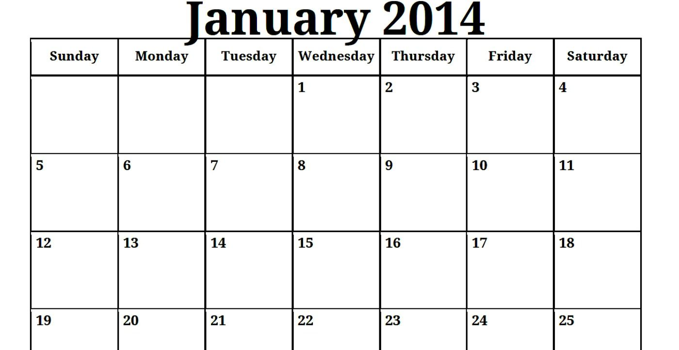 Print Blank Monthly Calendar  Printable Blank Pdf January