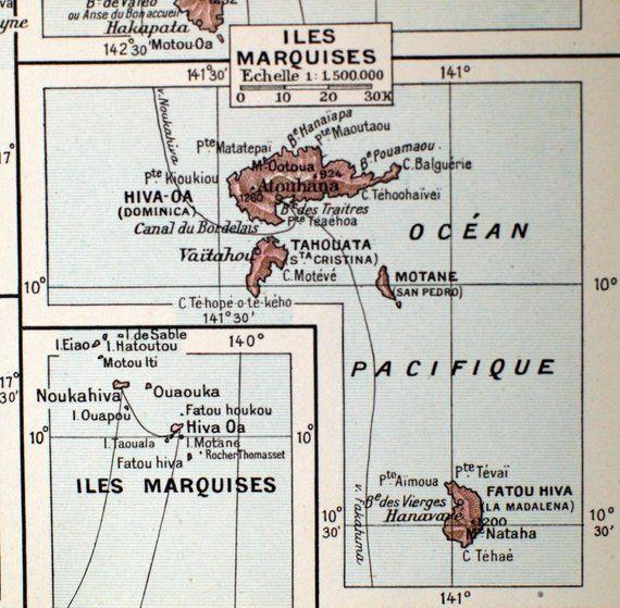 1923 Vintage Map of Antilles - Marquesas - Tahiti ... on vintage map of southeast asia, vintage map of costa rica, vintage map of caribbean,