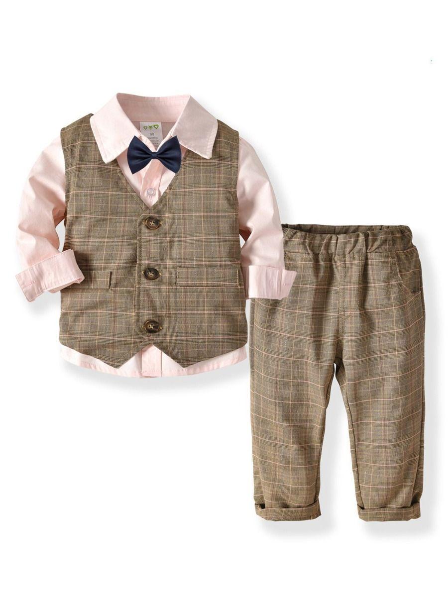 4pc Boy Toddler Formal White Vest Necktie Black Brown Navy Gray Dark Khaki S-4T