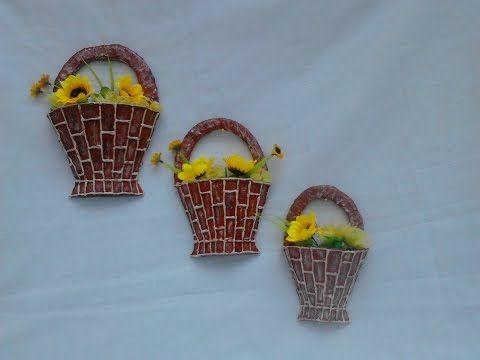 22d26cf767cee canastitas hechas de carton adorno para la pared Кашпо из гофрокартона -  YouTube