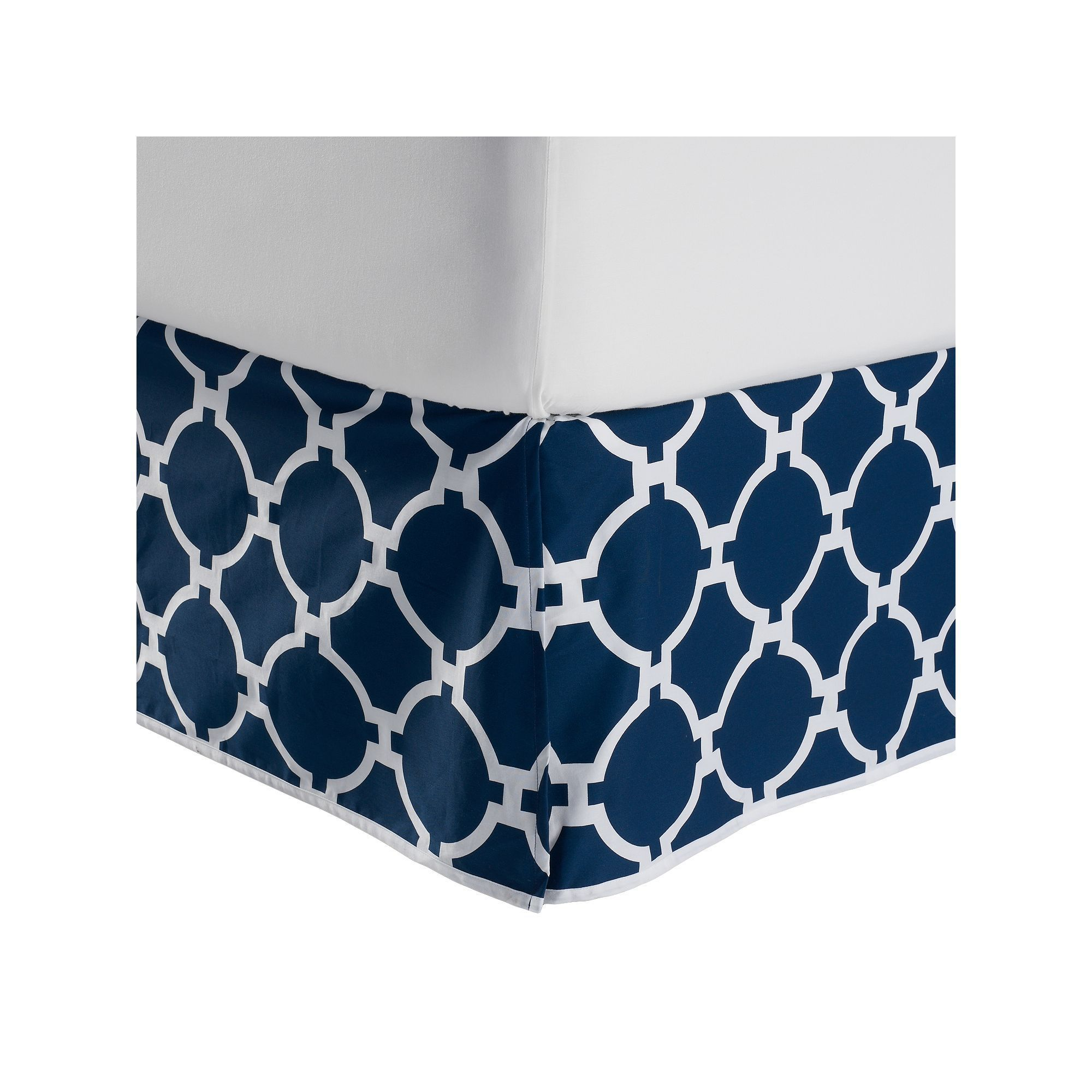 jill rosenwald copley hampton links reversible bed skirt blue navy