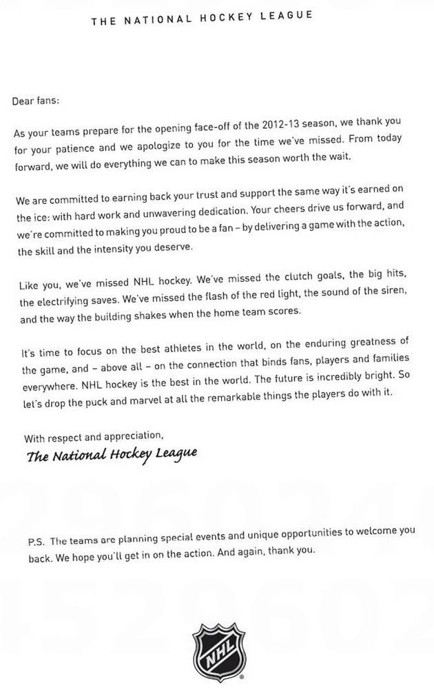 NHL uses full-page ad in newspapers to apologize to fans (PHOTO - examples of apology letters to customers