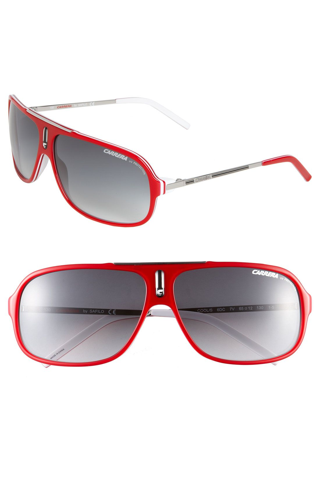 Carrera Hot 64mm Polarized Vintage Inspired Aviator Sunglasses in Red for Men (Red White)