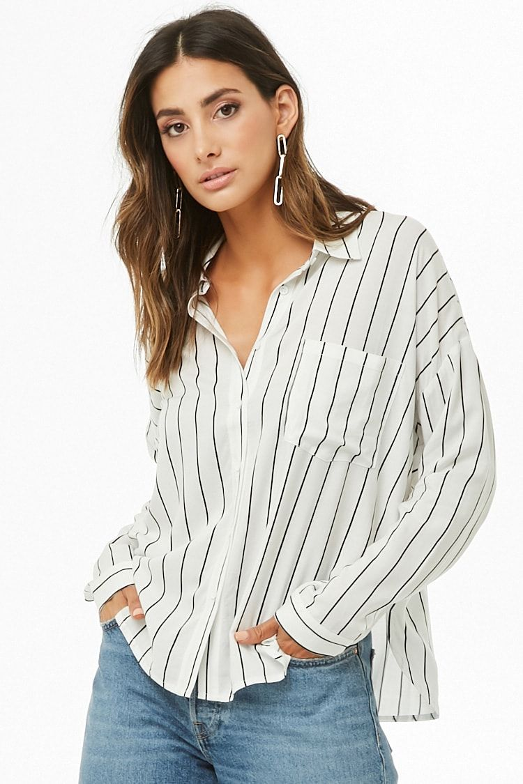 83a15aff36c2 Stripe Dolman-Sleeve Shirt | TOPS Bluesy | Fashion, Shirts, Workwear ...