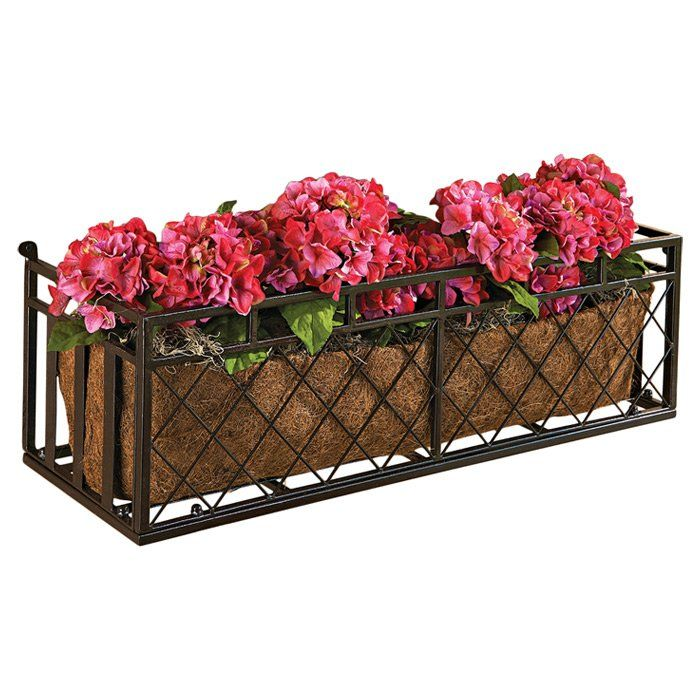 Tubular Steel Window Box Planter is part of Steel garden Boxes - Dress up a spot with seasonal greenery or create a minigarden right outside your master suite with this lovely window box, showcasing a chocolate brown finish