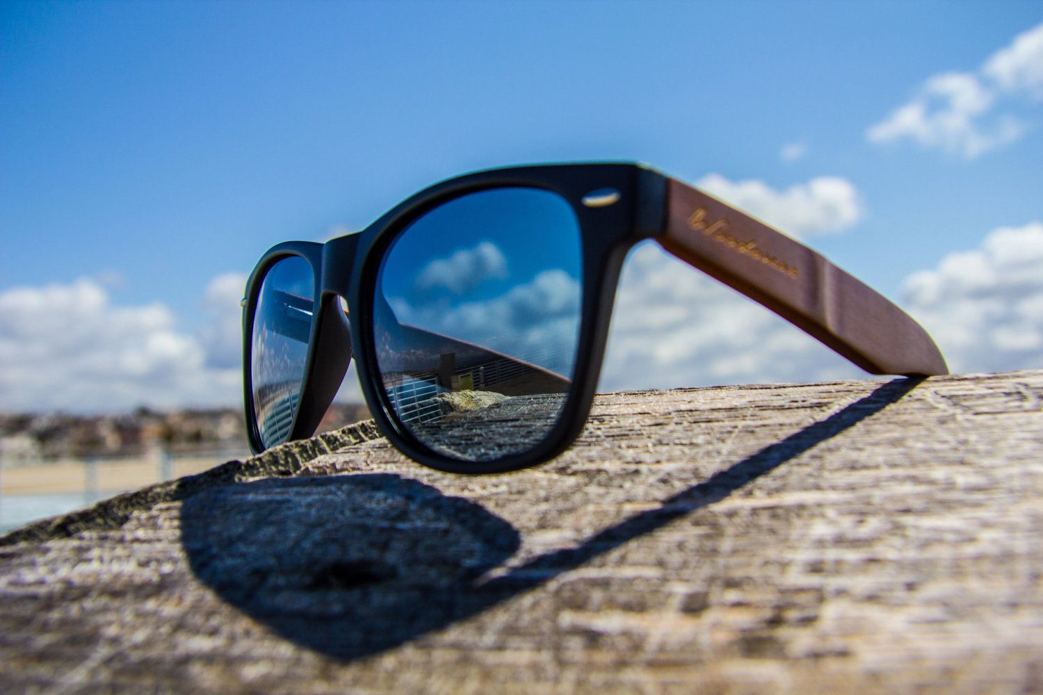b392005742 Handmade wood wooden wayfarer style sunglasses. Made with Eco-friendly  Bamboo. Malibu Matte Black.