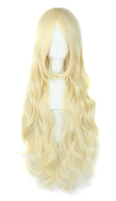 "MapofBeauty 32"" 80cm Long Hair Spiral Curly Cosplay Costume Wig (Light Blonde)"