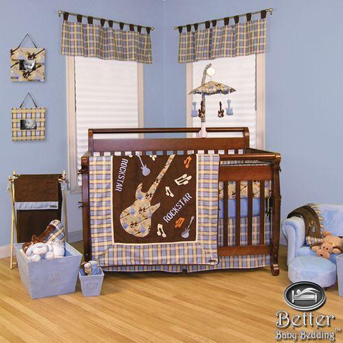 Trend Lab Baby Boy Musical Guitar Music Theme Crib Nursery
