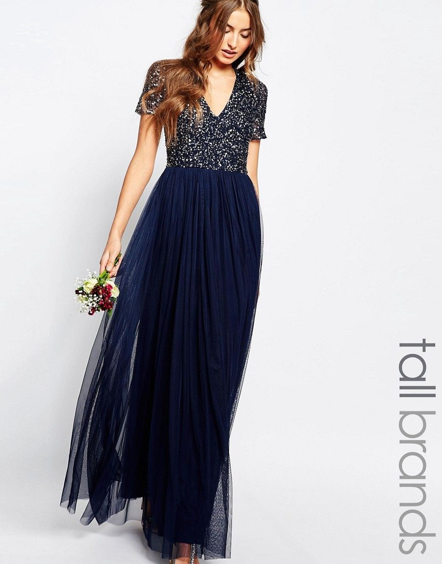 Image 1 of Maya Tall V Neck Maxi Tulle Dress With Tonal Delicate ...