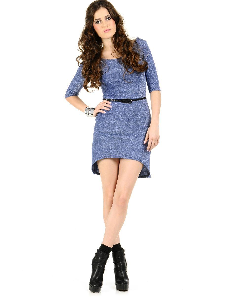 Cosmic Hi-Low Lurex Dress | $14.50 | Trendy Cheap | Club and Party Dresses | Blue | MODdeals.com