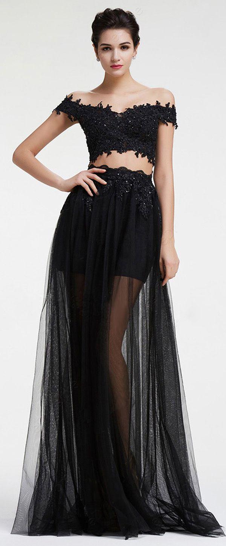 Modest tulle offtheshoulder neckline aline twopiece prom dress