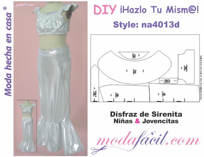 Descarga gratis los Moldes de disfraz de sirenita para niñas y ...