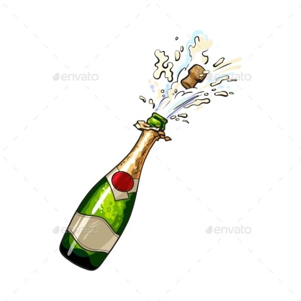 Champagne Bottle With Cork Popping Out Bottle Drawing Champagne Bottle Bottle Tattoo