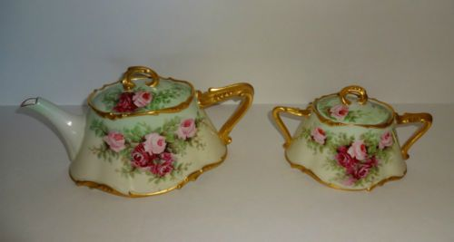 Antique French J.P. Limoges Handpainted Roses Porcelain Teapot & Sugar Bowl Set