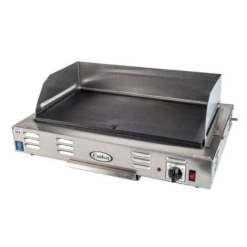 Cadco CG-10 Countertop 120-Volt Electric Griddle  Cadco countertop electric griddle is equipped with a large, heavy cast, non-stick commercial cooking surface and easy to clean stainless steel housing. The heating element is imbedded into the casting which allows for even heating across the griddle surface. Removable stainless steel splash guard and grease tray. 3-Prong commercial SJTO cordset – 120 volts. Thermostat heats up to 425 plus degree F. UL safety and sanitary. 21-Inch by 1..