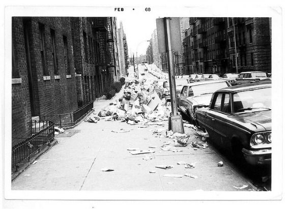 1968 began with a sanitation strike* that left New York covered in a layer of filth. The strike lasted nine days, and while the Sanitation union made sure that garbage was picked up from sensitive locations like hospitals, the city was soon overwhelmed by its own trash.