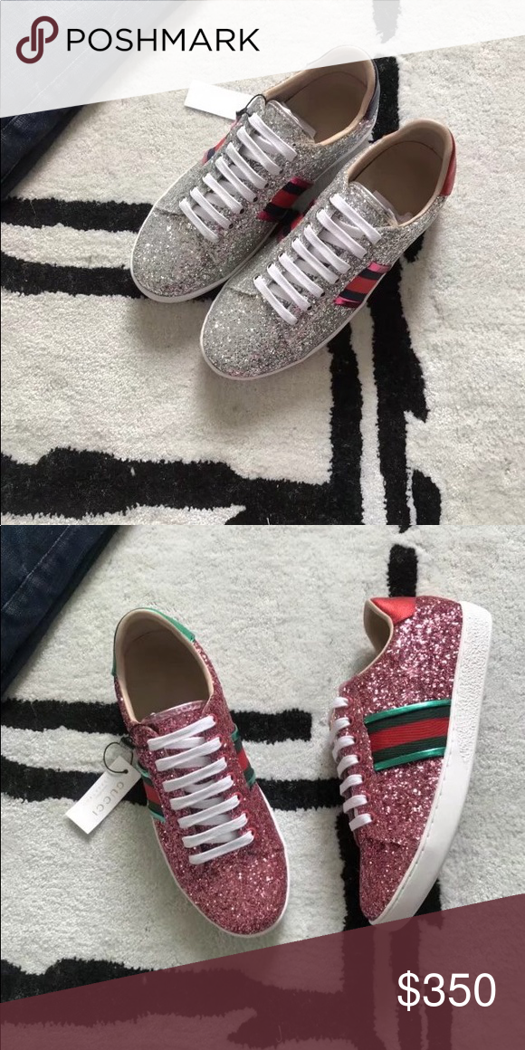 04028c8c72e7 Gucci sparkling sneakers Pink and silver sparkle shoes brand new in box Gucci  Shoes Sneakers
