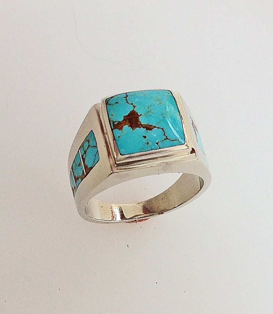 14 Karat White Gold and Turquoise Men's Ring Mens