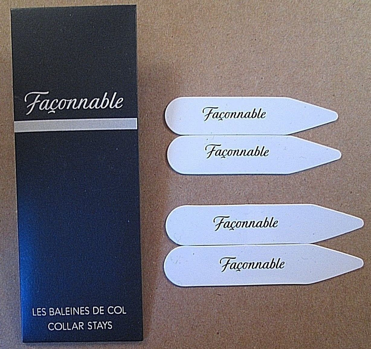 20 PACKS FACONNABLE 80 SHIRT COLLAR STAYS 2 SIZES 2 INCH & 2 & 1/2 INCH PLASTIC