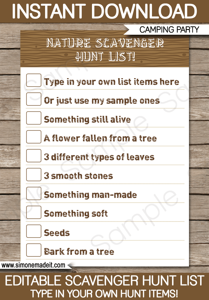 Camping scavenger hunt list template market garden ideas camping scavenger hunt list printable template for kids diy editable template 300 instant download maxwellsz