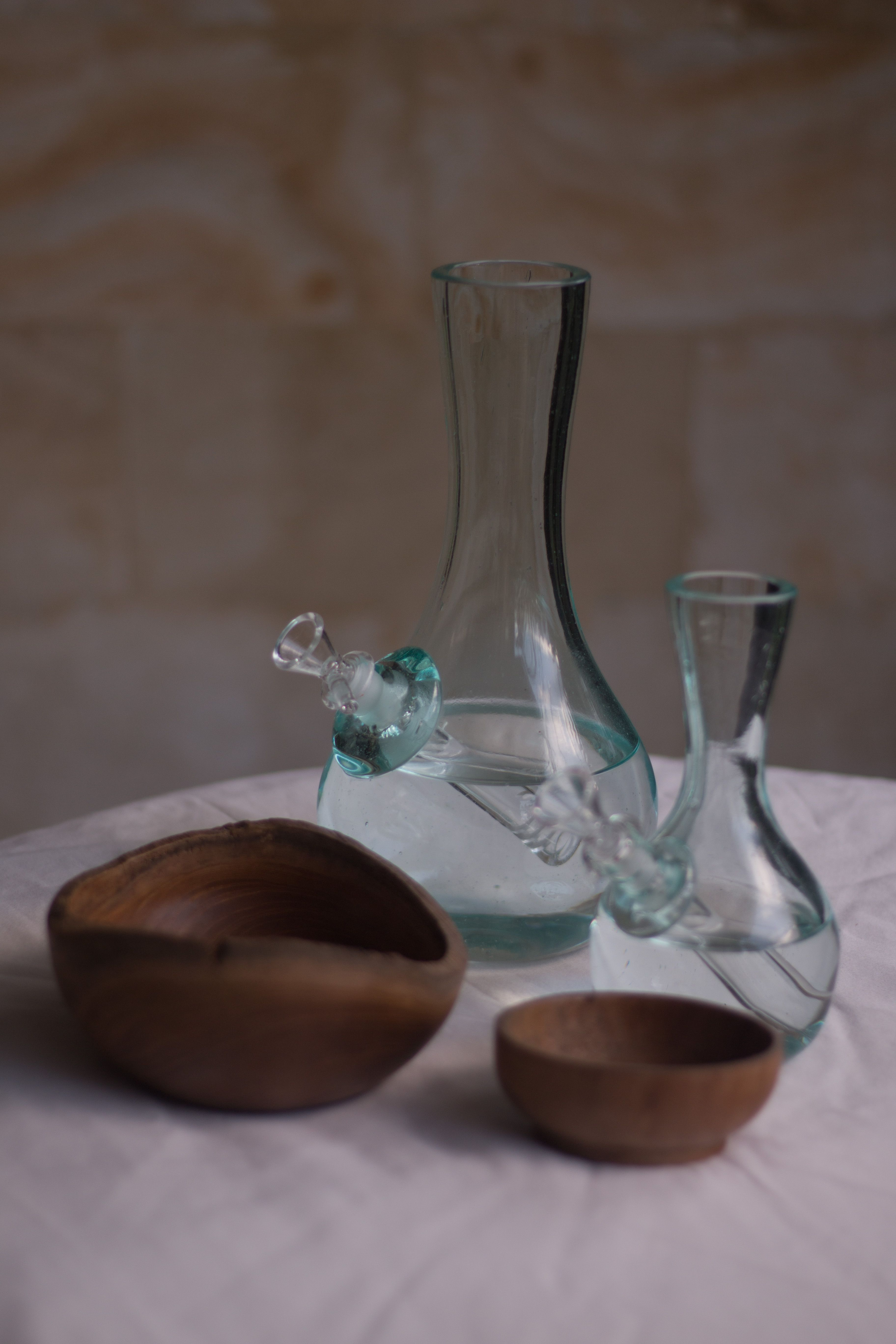 Bongs hand blown glass bong vase small and medium with