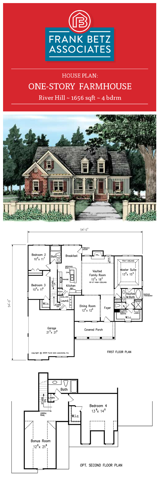 River Hill 1656 Sqft 4 Bdrm One Story Farmhouse House Plan Design By Frank Betz Associates Inc House Plans One Story Farmhouse Plans House Plans