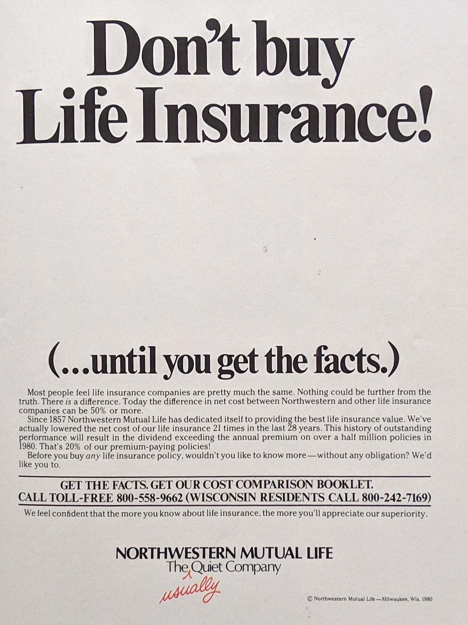 Don T Buy Life Insurance 1980 Vintageads Ads Vintage Printad Tvads Advertising Brandscience I Life Insurance Companies Life Insurance Insurance Ads