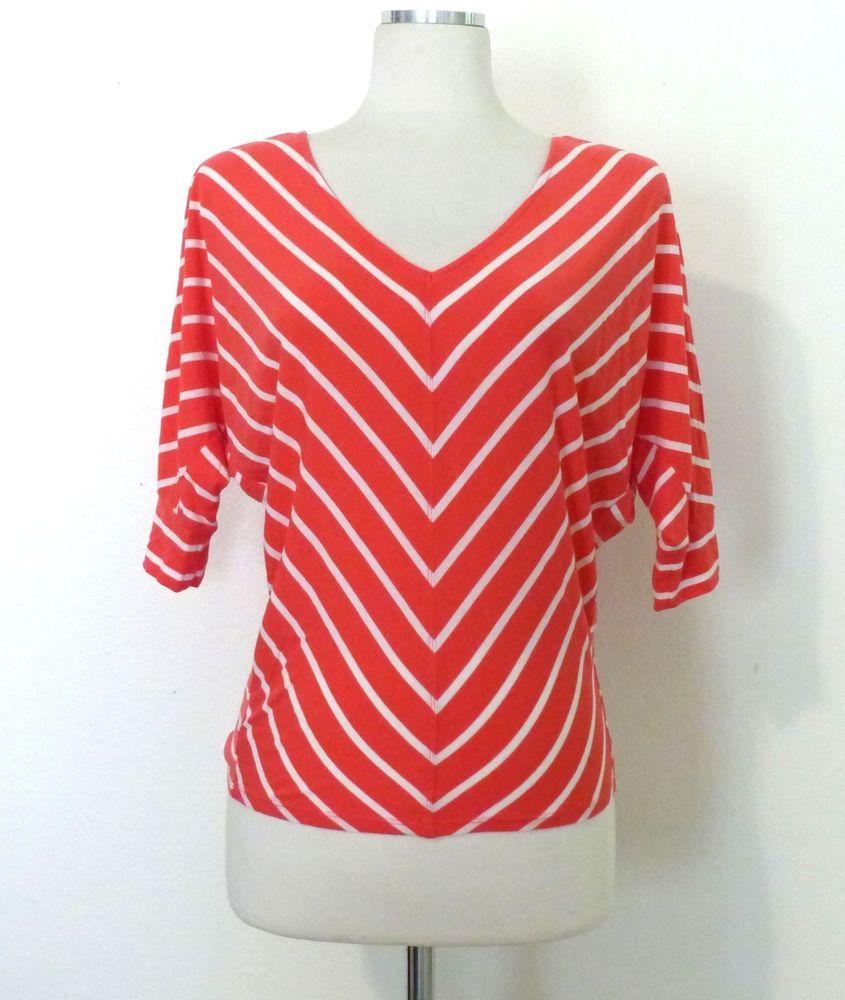 fe997af04c1 Bebe Coral & White Stripe Dolman Sleeve Stretch Knit V-neck Pull Over Top  XS #bebe #Pullover