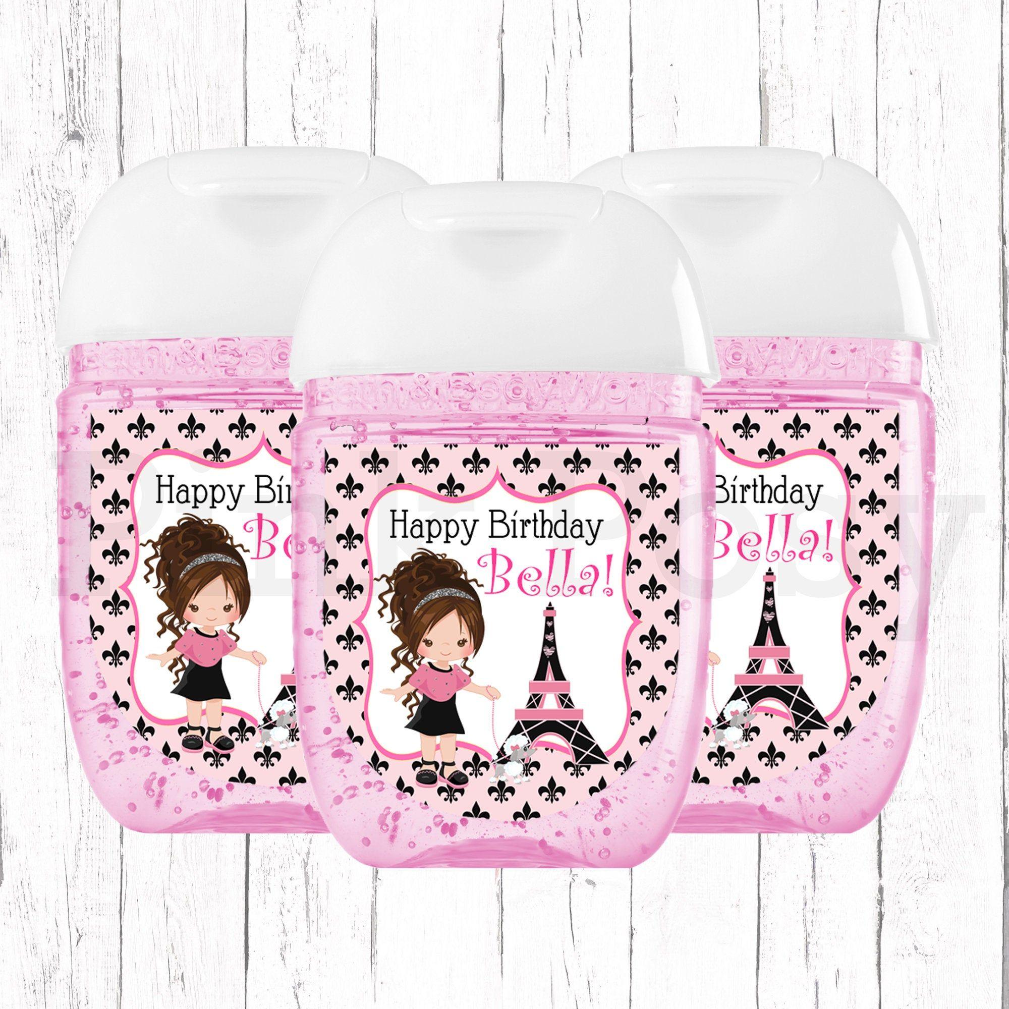 Paris Hand Sanitizer Labels French Birthday Party Labels Paris