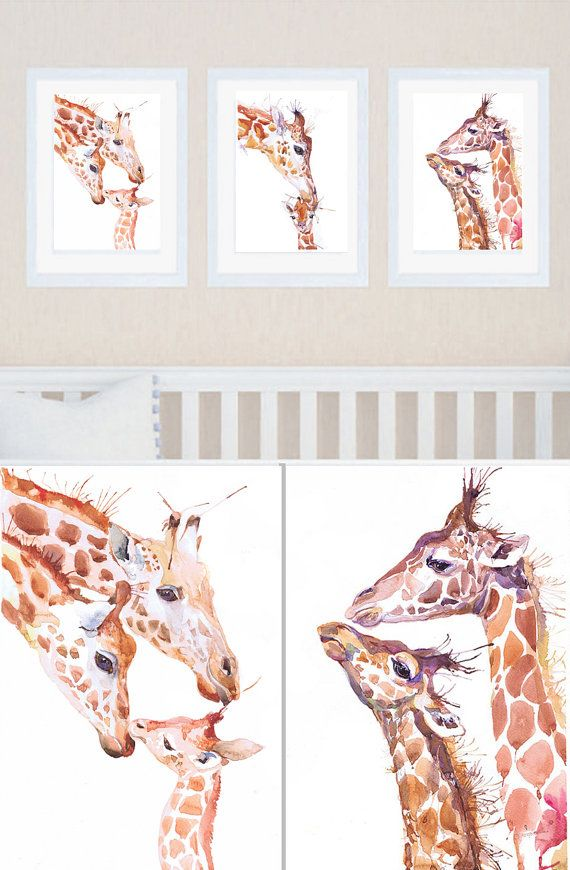 Giraffe Nursery Art Set Of 3 Prints Painting Watercolor Boy Decor Baby Three Safari