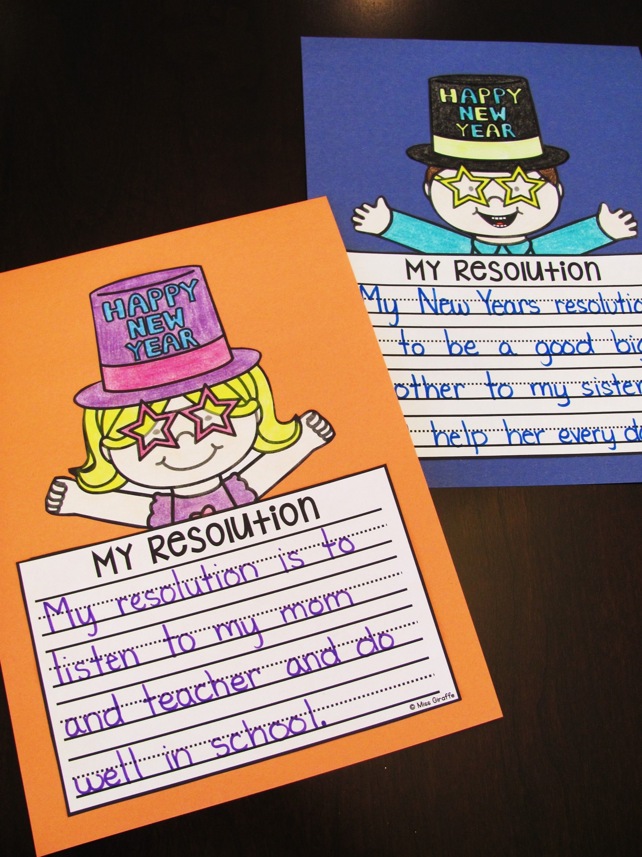 New Years 2020 Writing Resolutions NO PREP Crafts New
