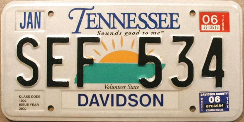 Tennessee, Sounds Good to Me Number plate, Car license