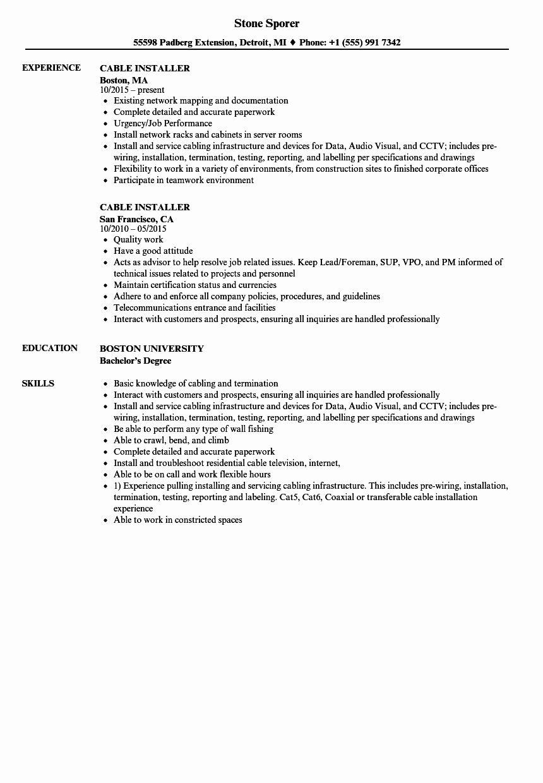 Cable Technician Job Description Resume Awesome Cable Installer Resume Samples Job Description Job Network Jobs For Teachers