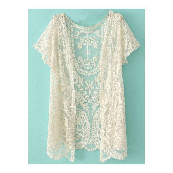 SheIn(sheinside) White Short Sleeve Crochet Net Lace Cardigan ($17 ...