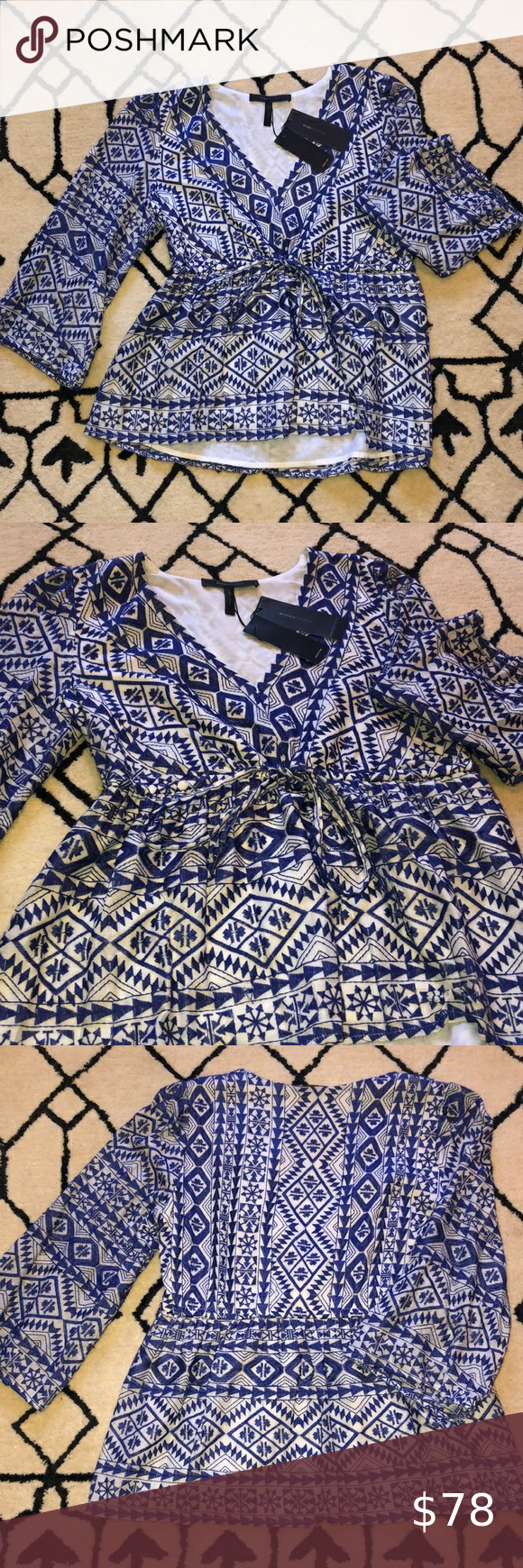 NWT BCBG 3/4 sleeve V neck embroidered top Sz S NW