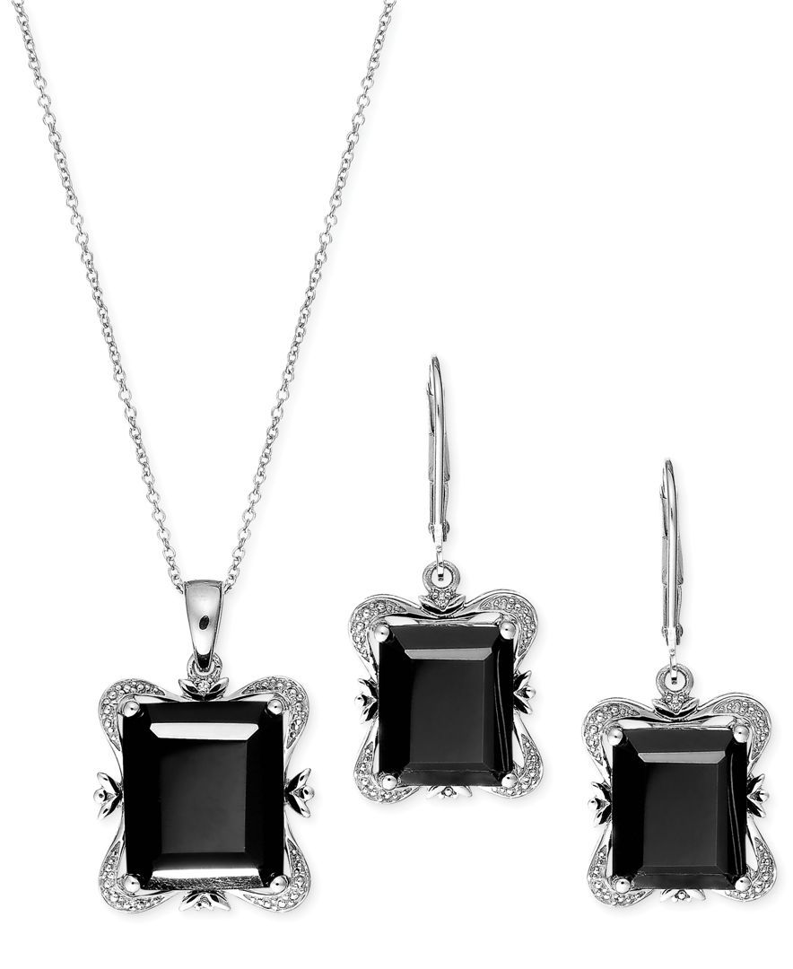 Onyx Square Jewelry Set in Sterling Silver (17-3/4 ct. t.w.)