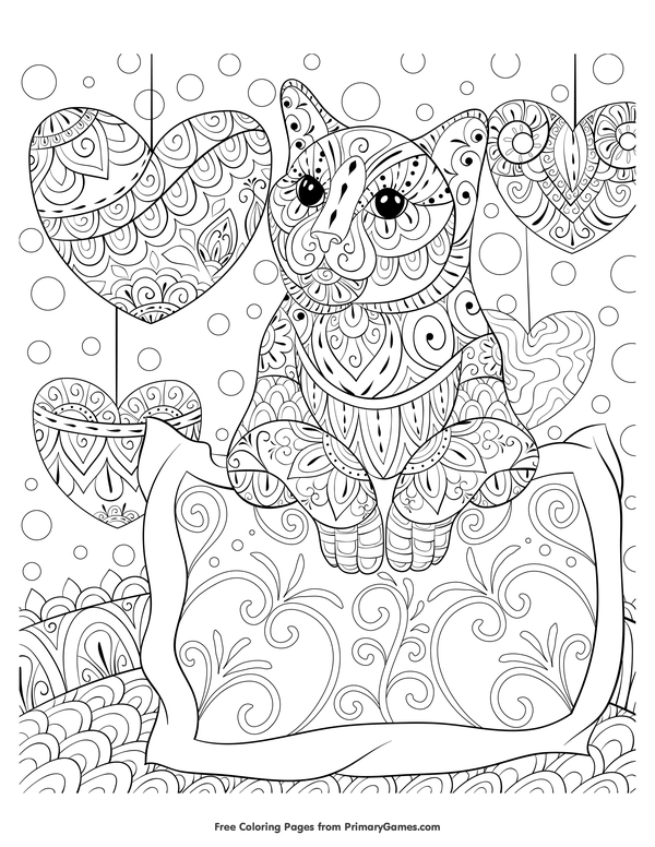 cat with hanging hearts coloring page