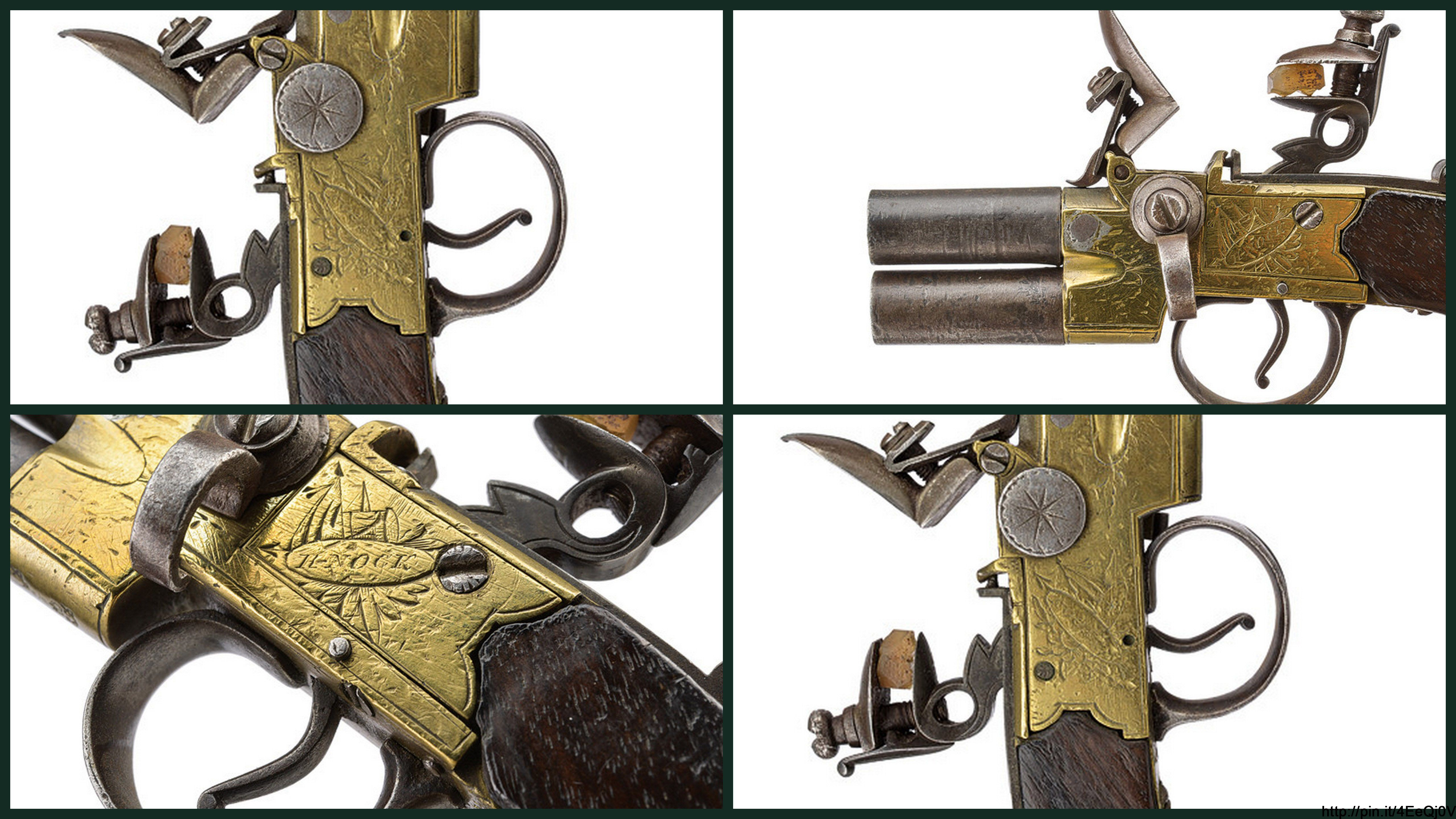 """A over and under barrelled flintlock pocket pistol by Nock   provenance: London dating: first quarter of the 19th Century   description: Round, smooth, 10 mm cal. barrels; brass frame engraved with trophies and signed """"H. NOCK"""" and """"LONDON"""", stamps of the test bench; the parts of the mechanism are made of iron; secure lock. Wooden butt.   dimensions: length15 cm."""
