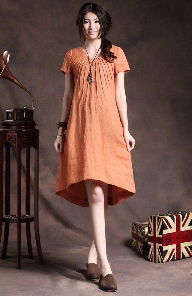 orange tunic dress with tucks / linen tunic sundress / loose kaftan dress / long caftan tunic / Custom XS- XL,XXL, Plus size women. A8047 by camelliatune on Etsy https://www.etsy.com/listing/150083668/orange-tunic-dress-with-tucks-linen