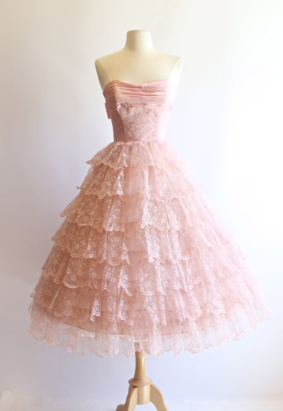 a0771cfa660 Vintage 1950s Prom Dress Vintage 50s Strapless by xtabayvintage ...