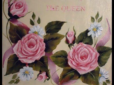 Como pintar en acrlico con tcnica americana  Cuadro de rosas
