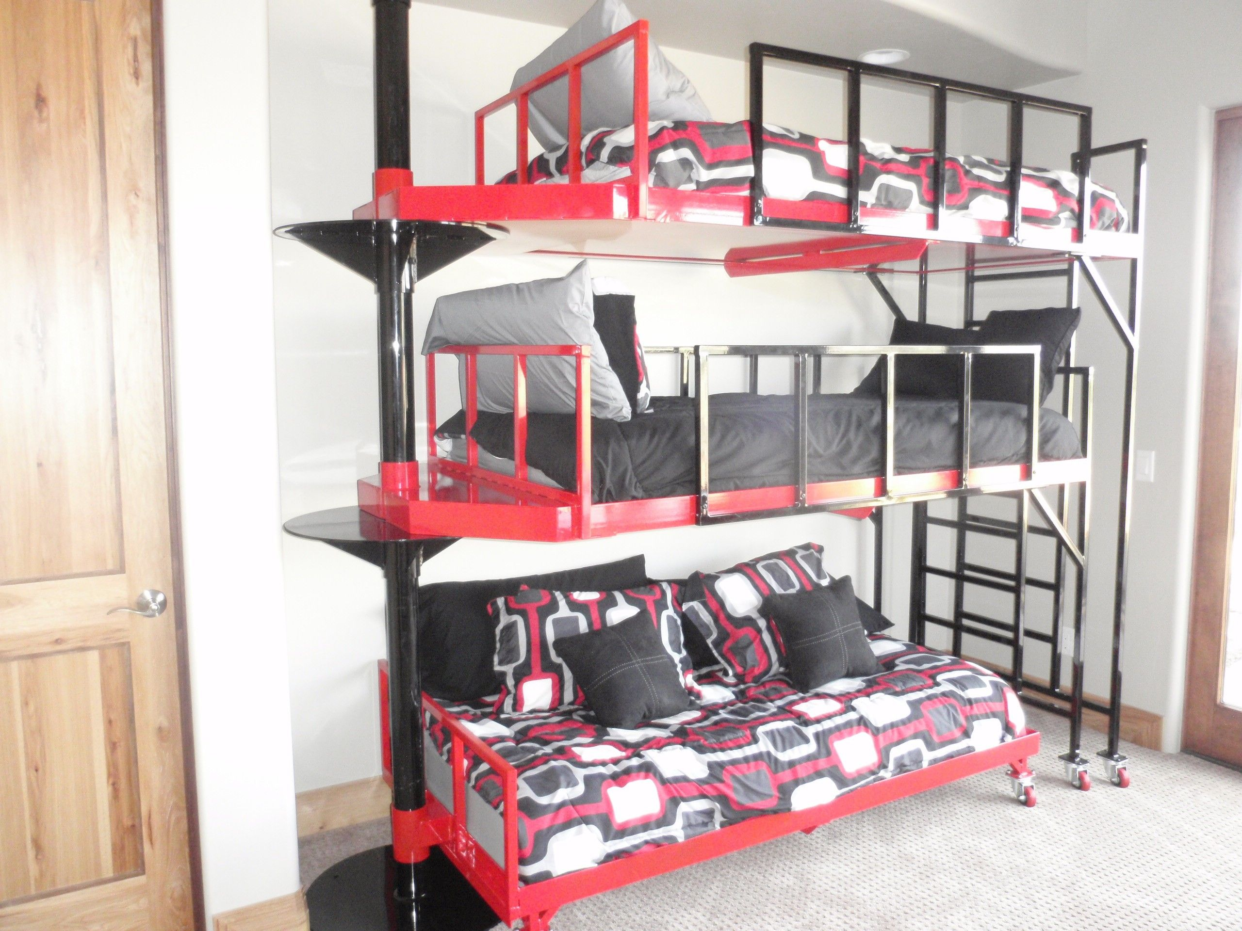 Contemporary 3 Tierd Pivoting Bunk Bed Bunk beds, Bed