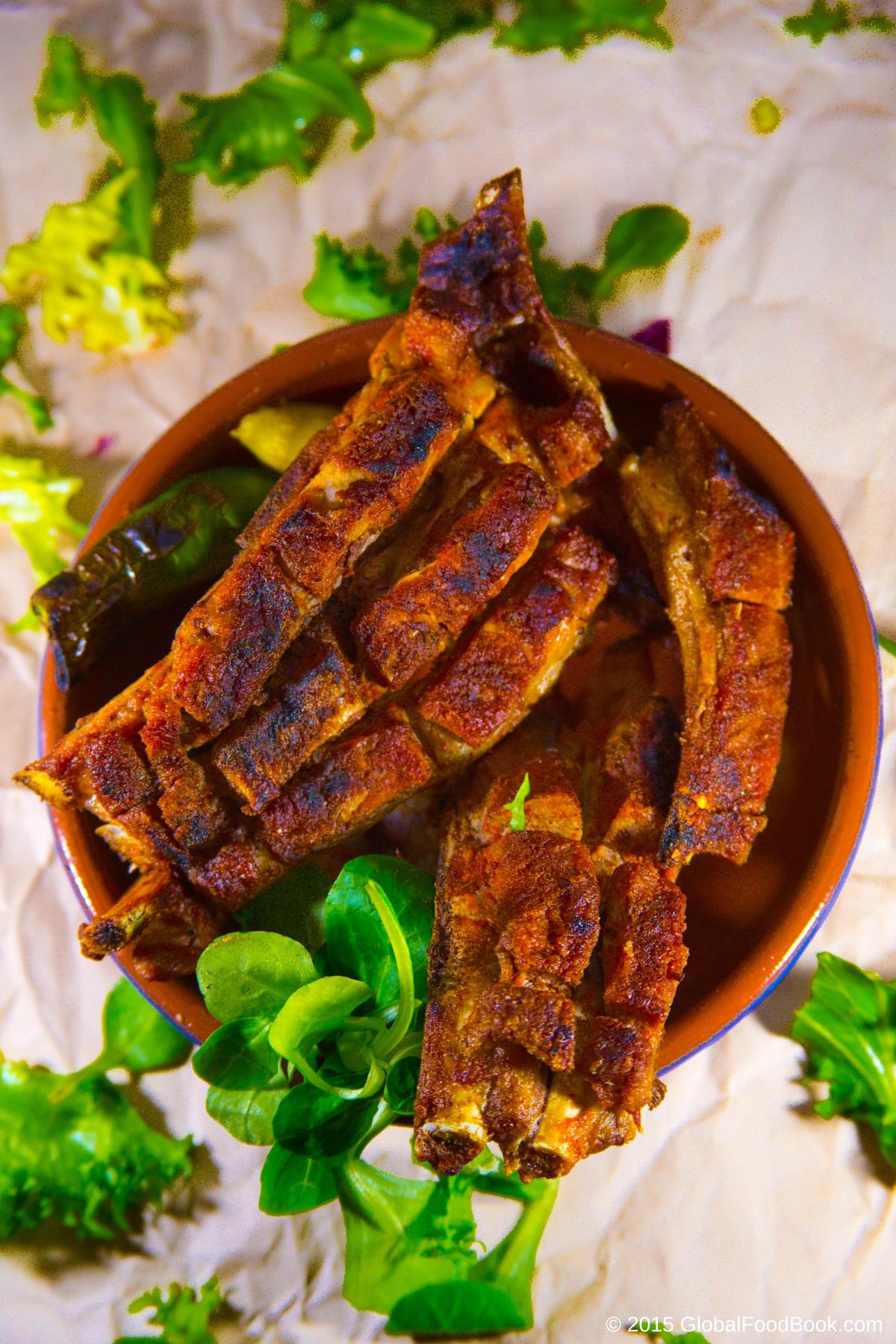 Lamb Ribs With Rhubarb And Radish Salad