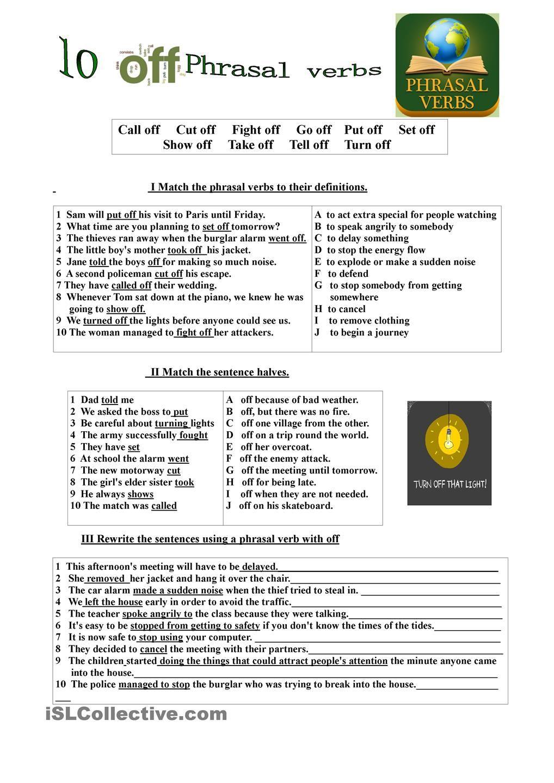 10 Off Phrasal Verbs Verb English Language Learning English Phrases [ 1440 x 1018 Pixel ]
