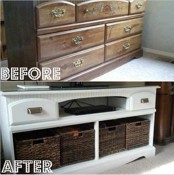 Repurposed Dresser Remove Drawers Replace W Basketsmakes A