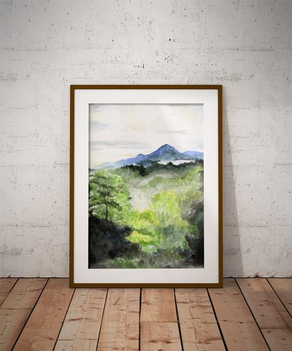 Mountain Art Smoky Mountains Watercolor Painting Print