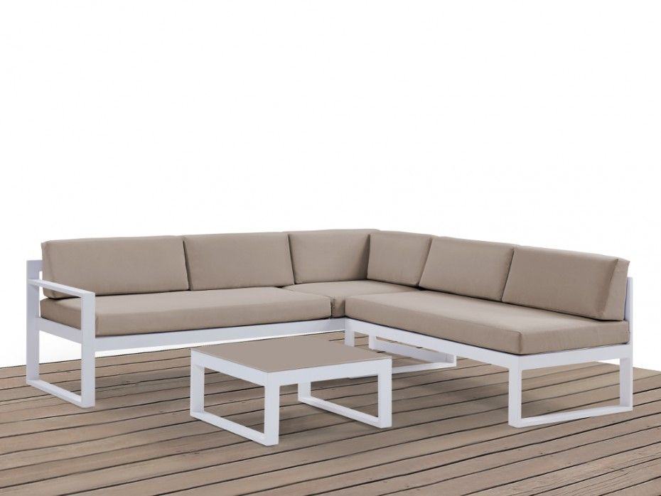 Salon jardin PALAOS canapé angle relevable + table - Taupe Salon